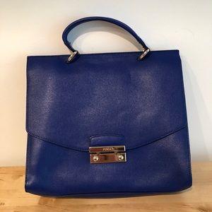 Furla satchel - blue - detachable cross body strap